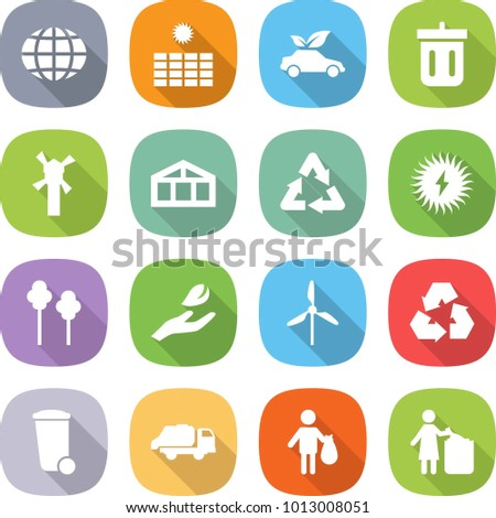flat vector icon set - globe vector, sun power, eco car, bin, windmill, greenhouse, recycle, solar, trees, hand leaf, recycling, trash, truck, garbage