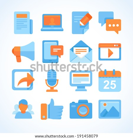 Flat vector icon set of blogging symbols, internet marketing design elements and social network communication - stock vector