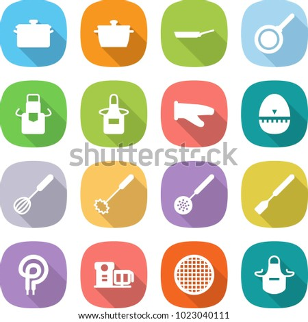 flat vector icon set - pan vector, apron, cook glove, egg timer, whisk, skimmer, spatula, elecric oven, food processor, sieve
