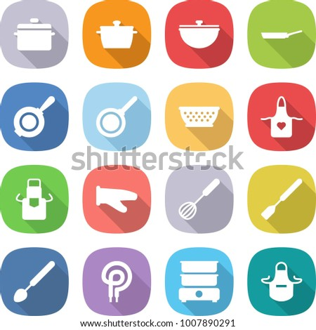 flat vector icon set - pan vector, cauldron, colander, apron, cook glove, whisk, spatula, big spoon, elecric oven, double boiler