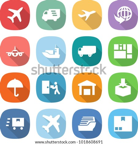 flat vector icon set - plane vector, delivery, sea shipping, consolidated cargo, dry, courier, warehouse, package, fast deliver, airplane, cruise ship