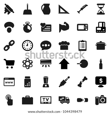 Flat vector icon set - scoop vector, pan, cook hat, timer, rolling pin, jug, mushroom, oil, corner ruler, case, atom, cart, credit card, clock, arrow up, monitor dollar, clipboard, pills vial, heart