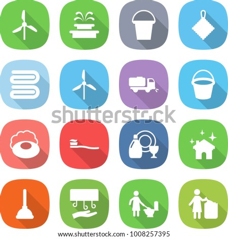 flat vector icon set - windmill vector, fountain, bucket, rag, towel, sweeper, soap, tooth brush, dish cleanser, house cleaning, plunger, hand dryer, toilet, garbage bin