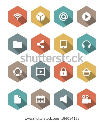 Flat vector icons concept. Design elements for business, social media,web site and mobile phone templates. design. Long shadow effect.  - stock vector