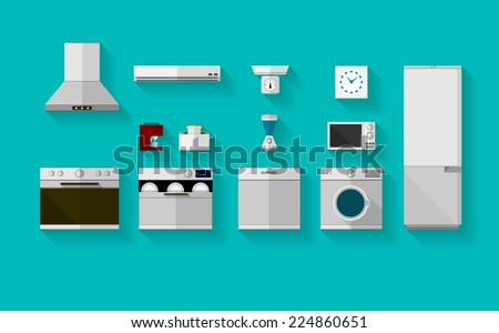 Flat vector icons for kitchen appliances. Set of gray flat vector icons with household appliances for kitchen on blue background. - stock vector