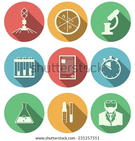 Flat vector icons for microbiology. Set of colored circle vector icons with black silhouette elements of microbiology on white background. - stock vector