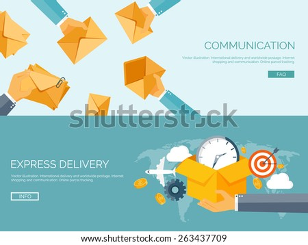 Flat vector illustration backgrounds set. International delivery and worldwide postage. Emailing and online shopping. Envelope and package. - stock vector