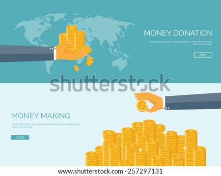Flat vector illustration backgrounds set. Money and money making. Web payments. World currency. Internet store, shopping. Pay per click. Business. - stock vector
