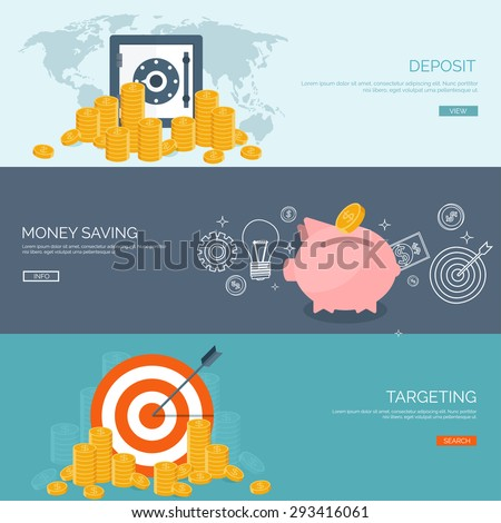 Flat vector illustration backgrounds set. Money saving and money making. Web payments. World currency. Internet store, shopping. Pay per click. Business. - stock vector