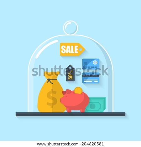 Flat vector illustration concept of saving money for commercial project or investment - stock vector