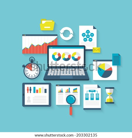 Flat vector illustration concept of website seach optimization and web analytics elements - stock vector