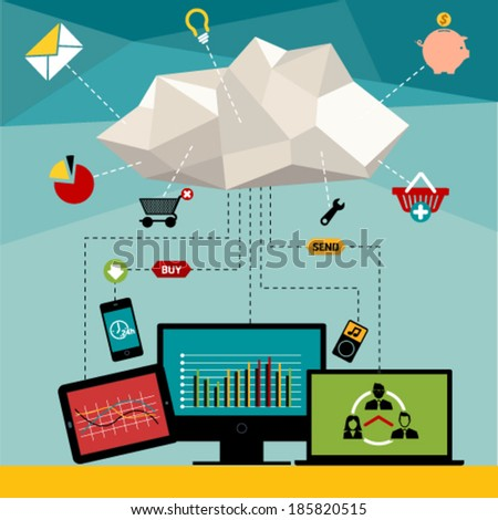 Flat vector illustration concept with web icons of buying product, online shop and e-commerce symbol and shopping elements.  - stock vector
