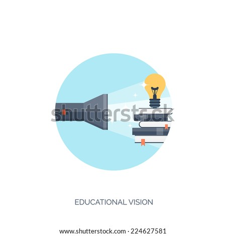 Flat vector illustration. Flashlight and bulb. Study and learning concept background. Distance education, brainstorm and knowledge growth,school and university subjects.Success and smart ideas - stock vector