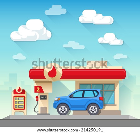 Flat vector illustration gas station and car in front of cloudy sky and city silhouette - stock vector