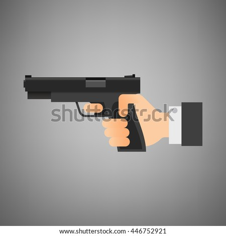 Flat vector illustration. Hand holding gun isolated on grey background. Black pistol. - stock vector
