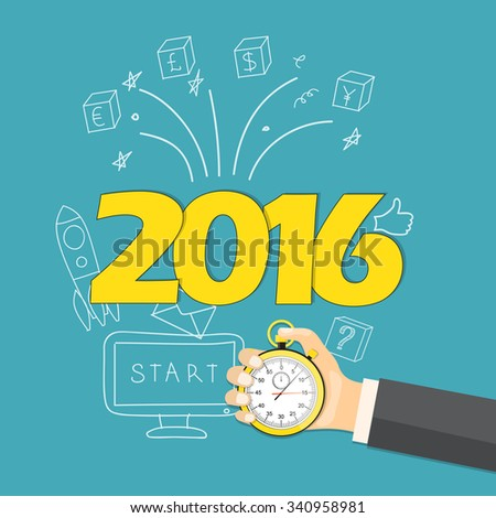 Flat  vector illustration. Hand with  stopwatch  and hand drawn business symbols on the new year`s background with symbols 2016 year. EPS 10 - stock vector