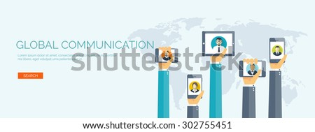 Flat vector illustration. Hands with tablets and smartphones. Friends list. Social network. Global communication. Chatting and emailing. - stock vector