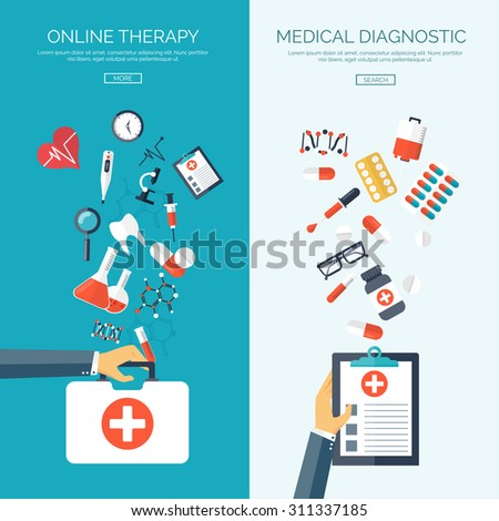 Flat vector illustration. Medical help. First aid. Online doctor. Heart care. Pharmacy, medicaments and vaccines. Healthcare. - stock vector