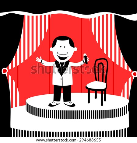 Flat vector illustration of a compere in the theater or cabaret - stock vector