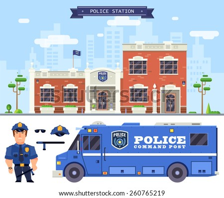 Flat vector illustration of a policeman standing in front of the police station.  - stock vector