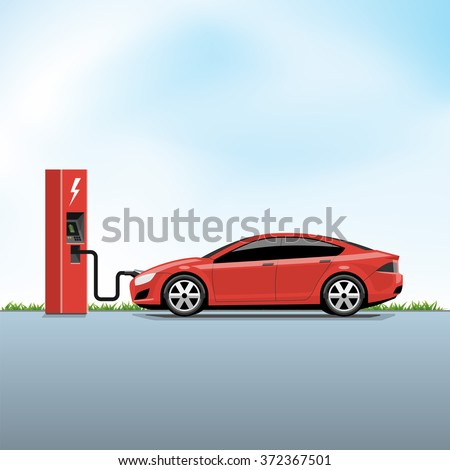 Flat vector illustration of a red electric car charging at the power station side view. Electromobility e-motion concept. - stock vector