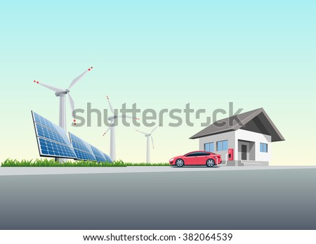 Flat vector illustration of a red electric car charging at the wall charging station placed on a house near solar panels and wind turbines producing electricity. Charge at home concept.  - stock vector