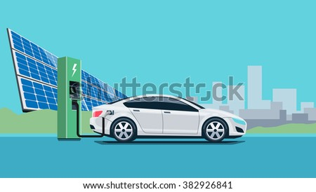 Flat vector illustration of a white electric car charging at the charger station in front of the solar panel plant. Electromobility e-motion concept with city skyline in the background. - stock vector