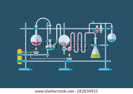 Flat vector illustration of chemical laboratory equipment objects with a series of flasks and beakers various shapes. - stock vector