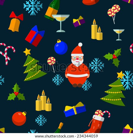 Flat Vector Illustration of Christmas Element for Design, Website, Background, Banner. Santa, snowflake, Pix, Gift, Candy, Snowman, candles, champagne Seamless Pattern Template. - stock vector