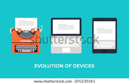 Flat vector illustration of evolution of devices from typewriter to laptop and tablet. - stock vector