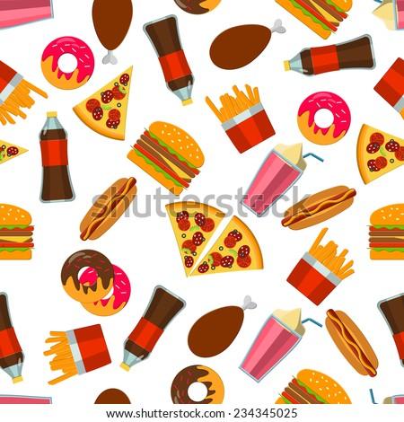 Flat Vector Illustration of FastFood for Design, Website, Background Banner. FAt Meal Food Template for Menu. Pizza, Soda, Chicken, Potato, Popcorn, Hot Dog, Donat  - stock vector