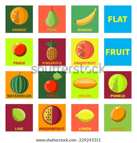 Flat Vector Illustration of Fruits Fresh Icon  Food for Design, Website, Background Banner. Template for Healthy Diet Concept With Lemon, grapefruit, Orange, Pine Apple, passion, Melon, Watermelon - stock vector
