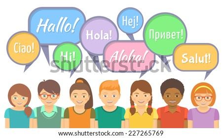Flat vector Illustration of happy smiling kids of different ethnicity that say hello in different languages with speech bubbles on white.Language School or international communication concept - stock vector