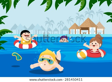 Flat Vector Illustration Of Kids Swimming In A Resort For Summer Vacation Palm Tree On