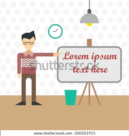Flat vector illustration of man near the board lamp and clock in room, business teacher - stock vector