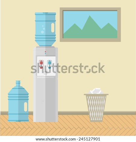 Flat vector illustration of office interior. Gray water cooler with replacement bottle and paper trash can near the wall with a picture. Colored flat vector illustration for office. - stock vector