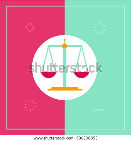 Flat vector illustration of scales - stock vector