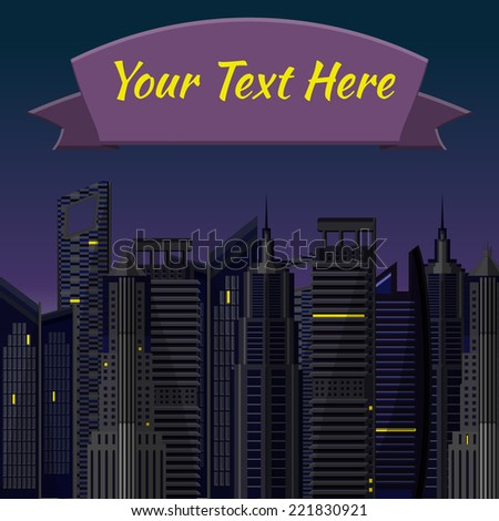Flat Vector Illustration of Town Design, Website, Background, Digital, Banner. City element Isolated for you Pattern or Map Texture. Night with Light Template metropolis. - stock vector