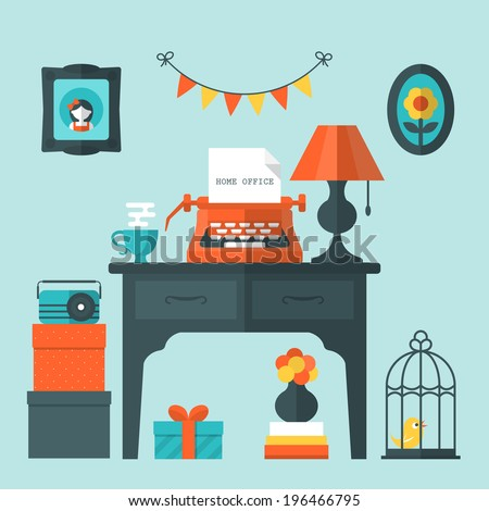 Flat vector illustration of vintage home office and workplace - stock vector