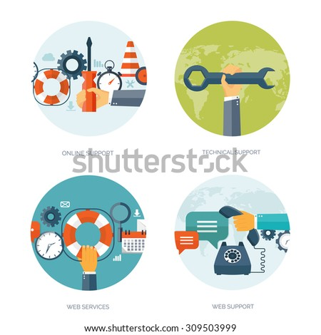 Flat vector illustration. Online consulting and technical support. Customer service. - stock vector