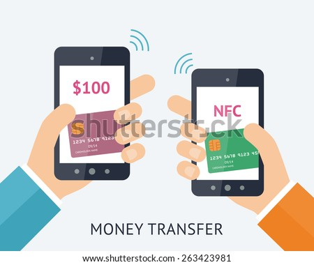Flat vector illustration. Online money trasfer concept. Two modern smartphones with credit cards on the screen and NFC radio wave outside. Near field communication technology. - stock vector