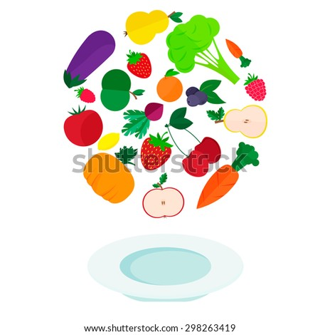 Flat vector illustration - plate with fresh vegetables and fruits - stock vector