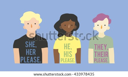 Flat vector illustration Pronouns. Three transgender persons in T-shirts with information about their pronouns. - stock vector