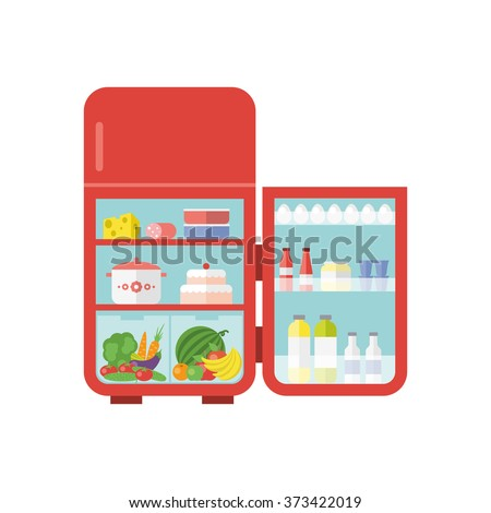 Flat vector illustration - red vintage outdoor refrigerator with food isolated on white background. - stock vector