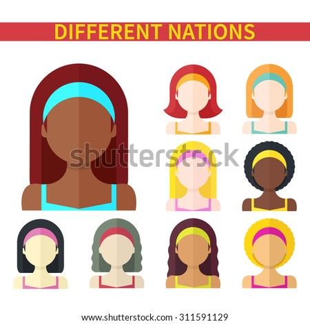 Flat vector illustration: Set of nine different nations woman icons isolated on white background - stock vector