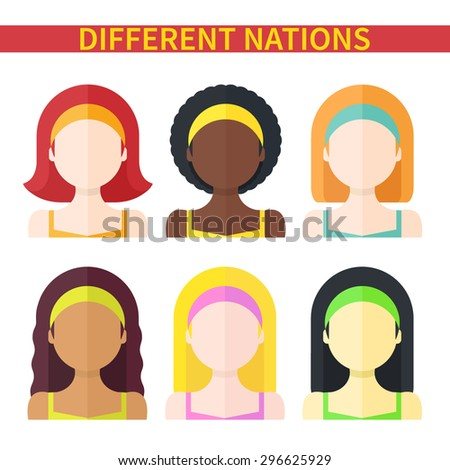 Flat vector illustration: Set of six different nation woman icons isolated on white background - stock vector