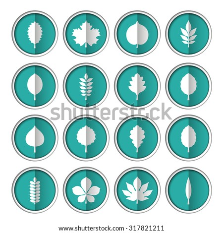 Flat vector illustration: set of sixteen circle slot windows with white silhouettes of different tree leaves on turquoise backdrops isolated on white background