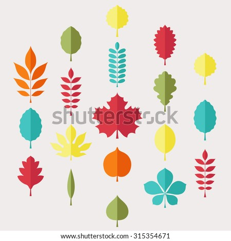 Flat vector illustration: Silhouettes of tree leaves (elm, beech, ash, linden, birch, alder, aspen, willow, maple,  poplar, rowan, hawthorn, walnut, apple, oak etc.) isolated on light gray background