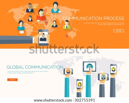 Flat vector illustration. Social network. Global communication. Chatting and emailing. - stock vector