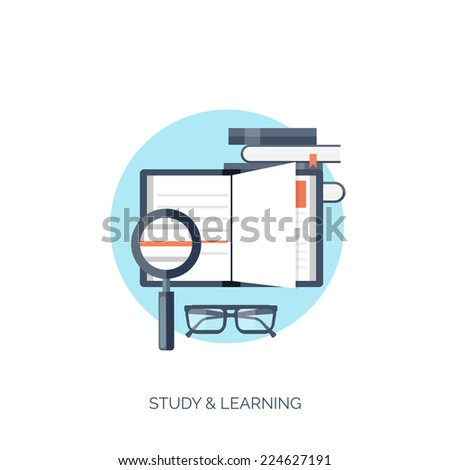 Flat vector illustration. Study and learning concept background. Distance education, brainstorm and knowledge growth,school and university subjects.Success and smart ideas, skills up.  - stock vector